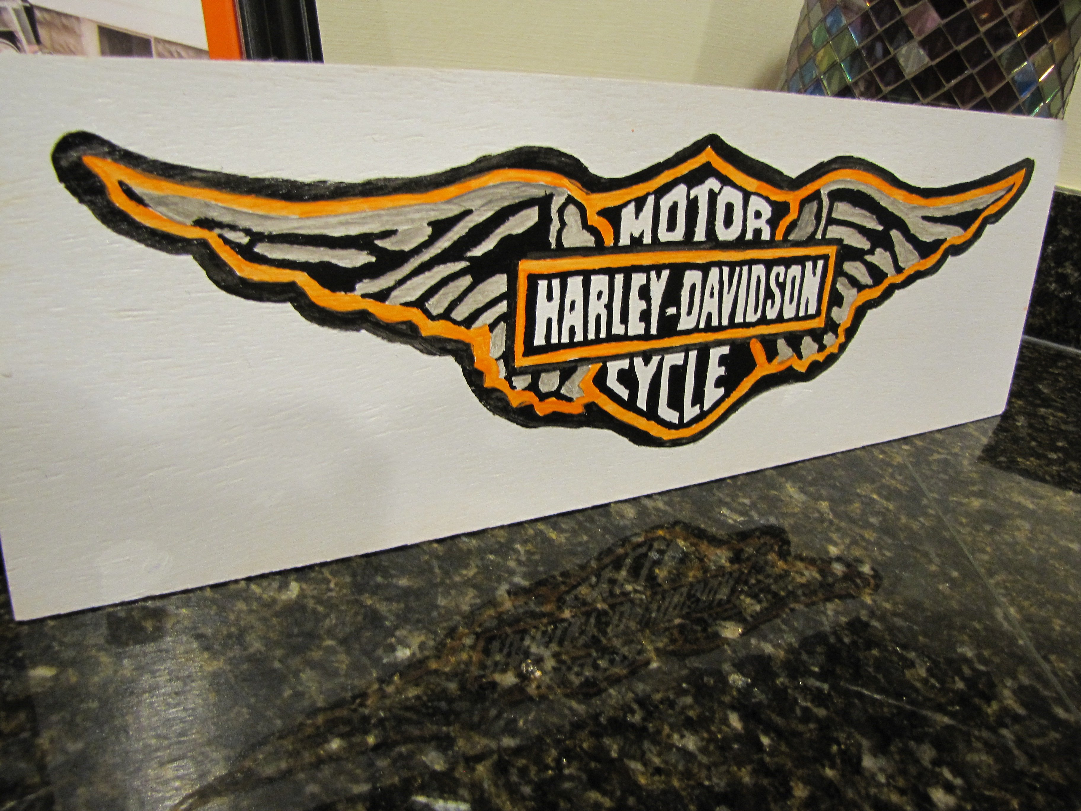 harley davidson hand painted signs gathered in the kitchen