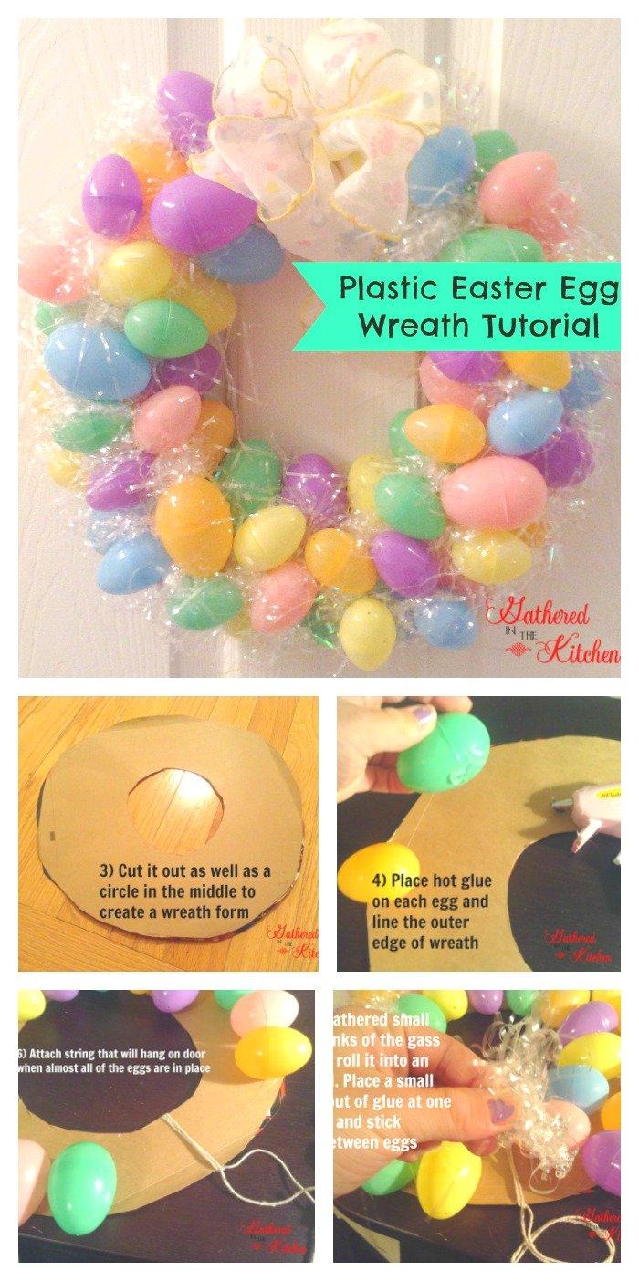 DIY Plastic Easter Egg Wreath Tutorial for under $3