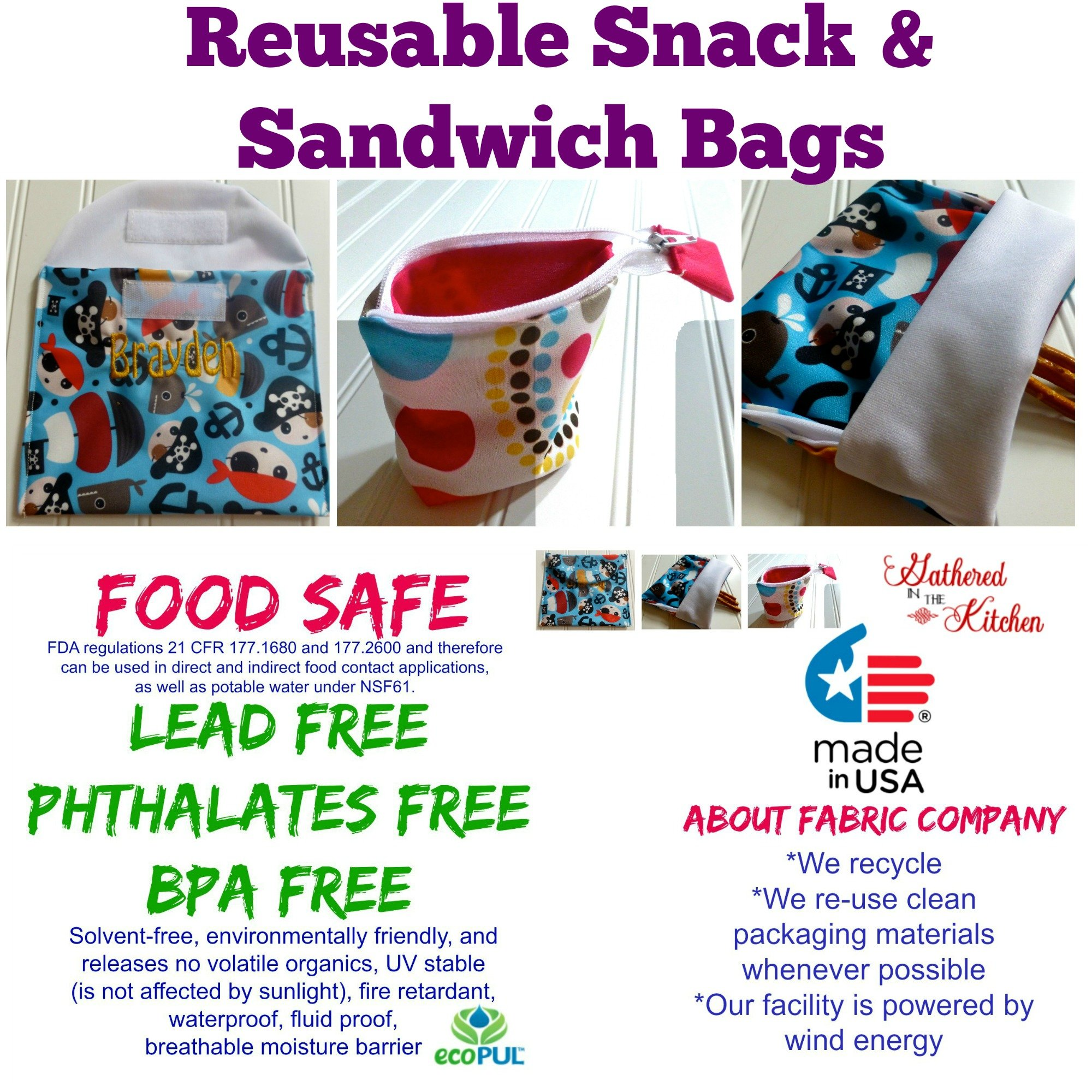 Reusable Snack And Sandwich Bags Food Safe