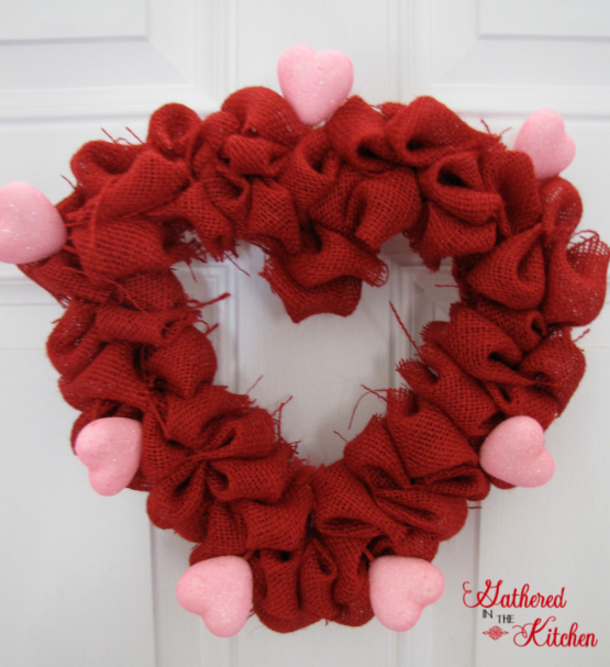 valentine's day burlap bubble wreath