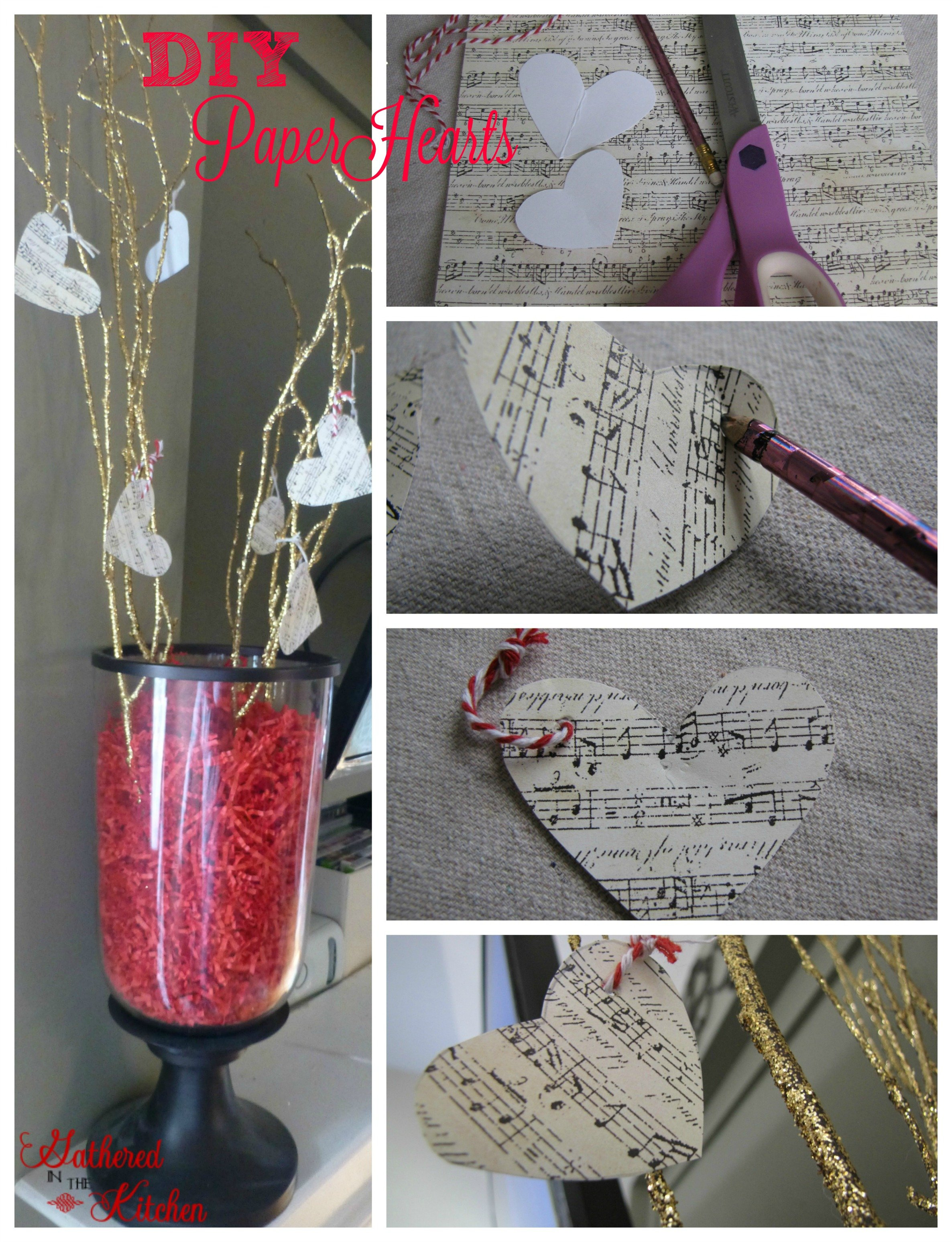 how to make hanging paper hearts