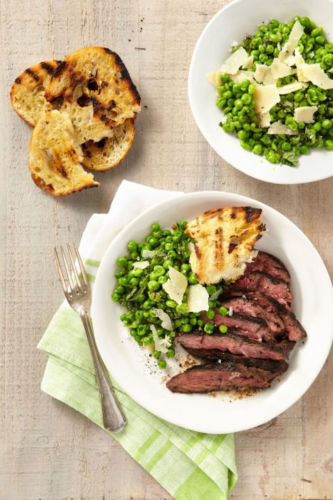hanger steak with peas - country living