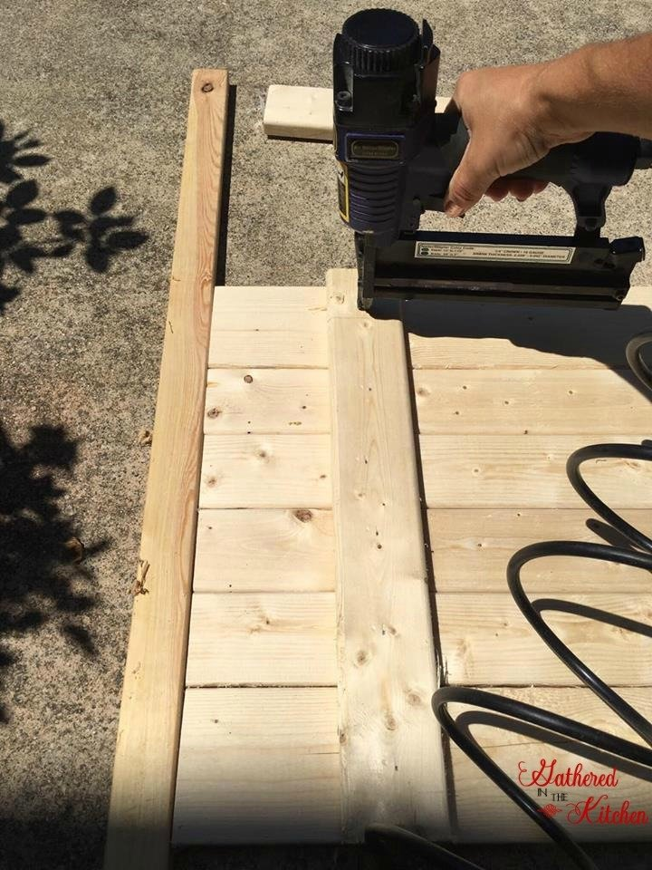 air nailer nailing wood