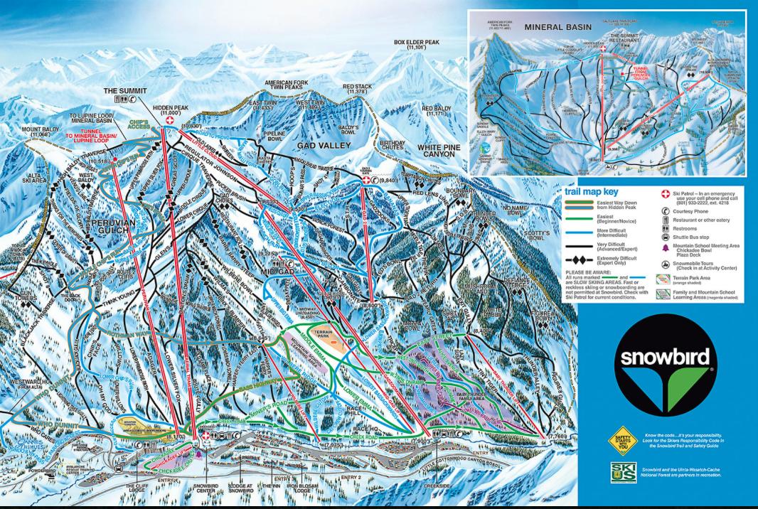 Snowbird Mountain, Utah Winter Trail Map