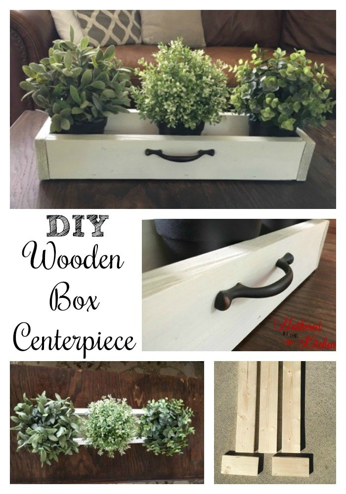 Diy wooden box centerpiece for under gathered in the