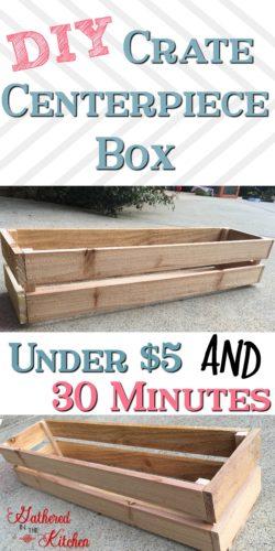 DIY wooden crate centerpiece