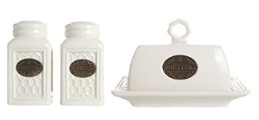 Ceramic Salt & Pepper Shakers and Butter Dish
