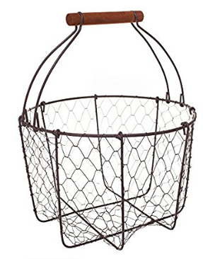 Farmhouse Wire Egg Basket with Handle