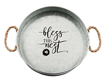 Bless This Nest Galvanized Metal Tray Sign