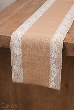 Burlap Table Runner with Lace
