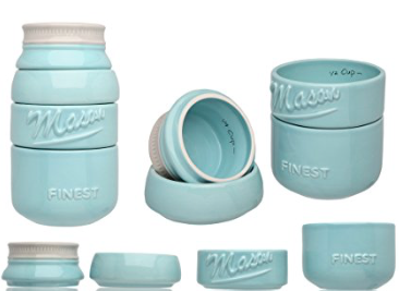 Ceramic Mason Jar Measuring Cup Set