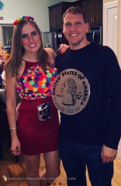 Couples Halloween Costumes: Gumball Machine & Quarter