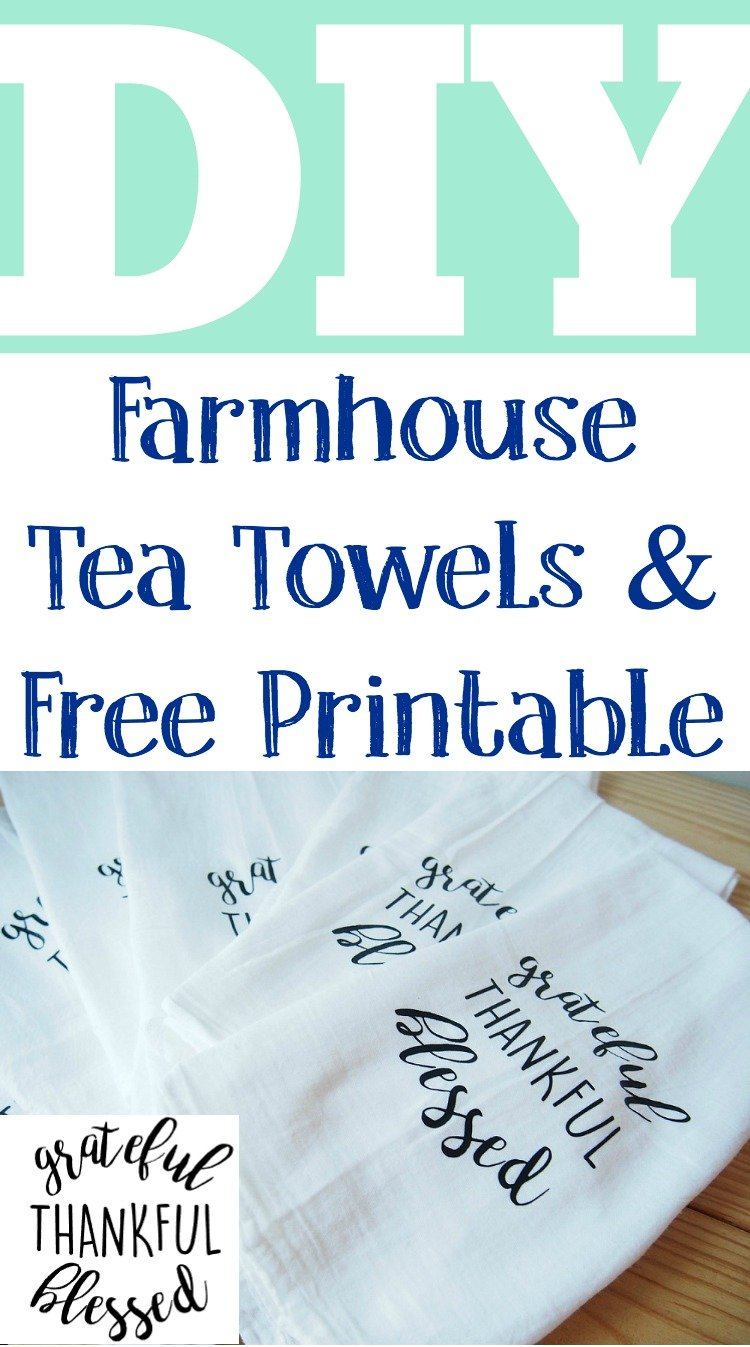 graphic about Printable Towels titled Do it yourself Farmhouse Tea Towels - Amassed Inside of The Kitchen area