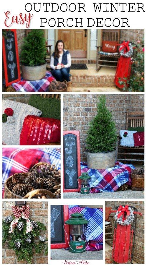 Easy Outdoor Christmas Winter Porch Decor