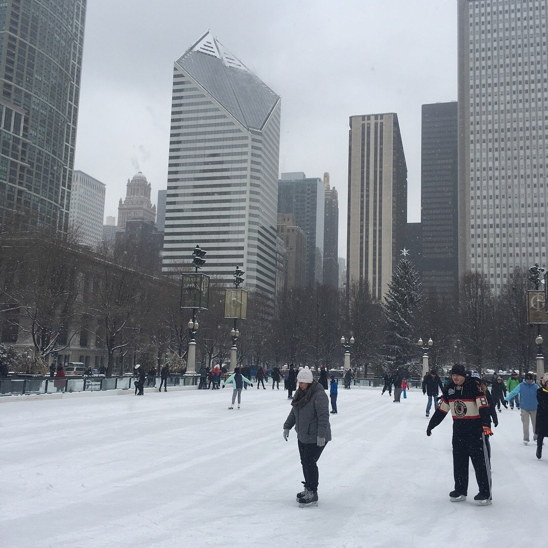 Ice Skating at the Bean in Millennium Park, Chicago, Illinois
