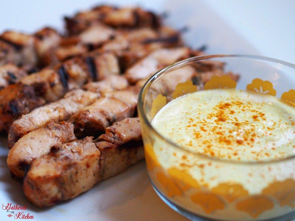 Keto Friendly Chicken Skewers with Creamy Turmeric Dip