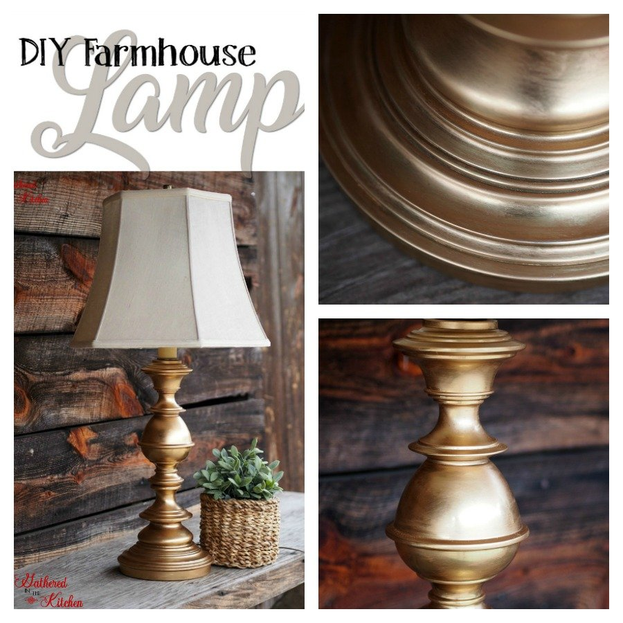 brushed gold diy farmhouse lamp with linen lampshade next to a wooden background