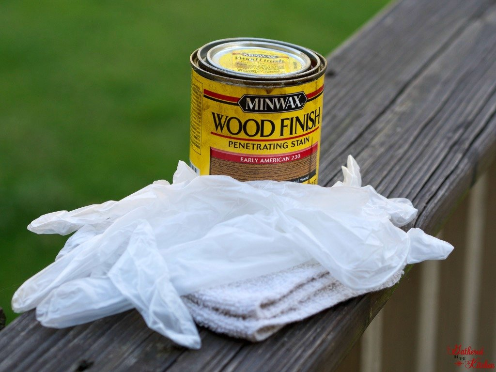 Minwax stain can color early American with a set of rubber gloves and an old rag for staining