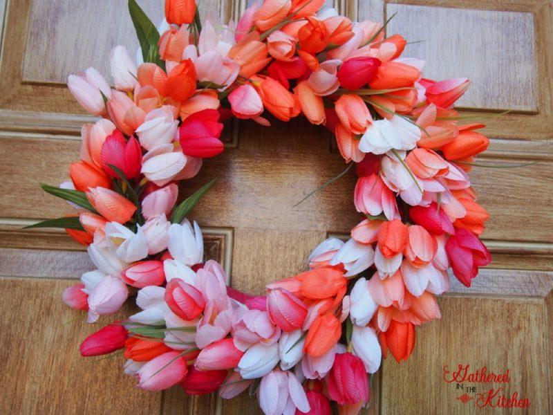 pink white peach mango colored tulip wreath