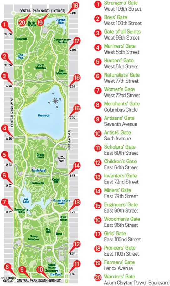 NYC Central Park Entrance Gates Map