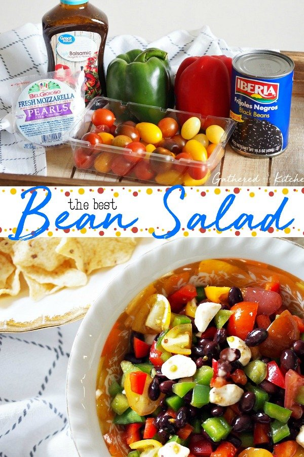 This bean, pepper, tomato and mozzarella salad is to die for! It is so fresh, delicious, and full of rich flavors that will leave you craving for more! The mozzarella adds a unique taste that puts a delightful spin on this bean salad. #appetizer #beansalad #superbowlfood #gatheredinthekitchen