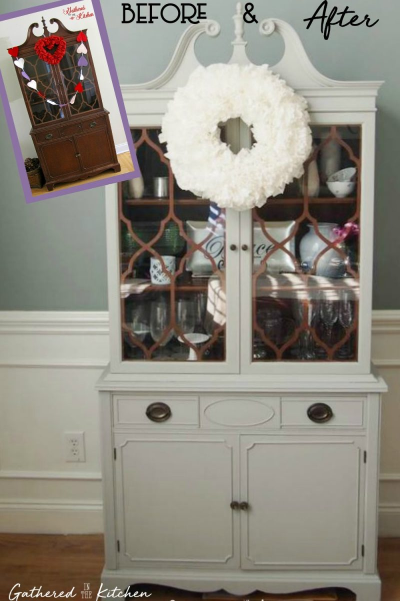 Before and after painted dining room hutch