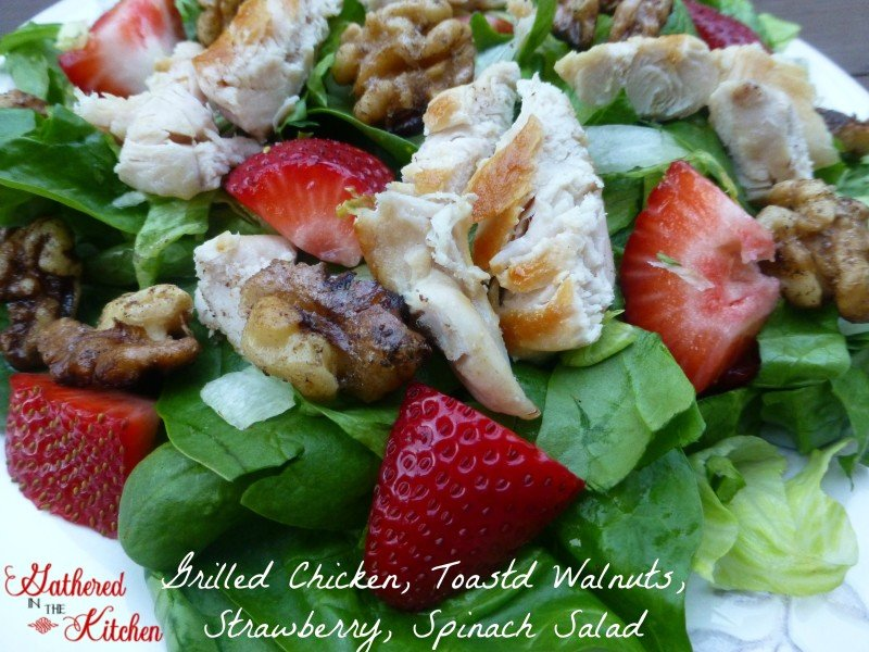 Grilled Chicken, Toasted Walnuts, Strawberry, Spinach Salad