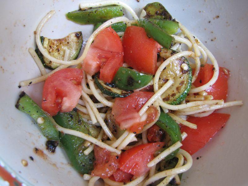 Sauteed Veggies Over Spaghetti
