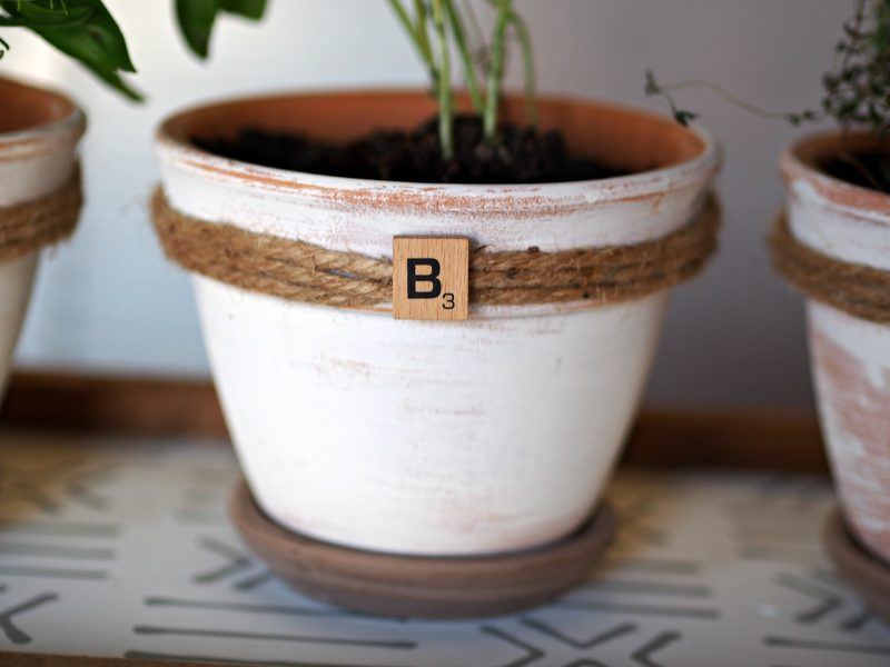 Create a beautiful indoor herb garden in farmhouse styled terra cotta planters!