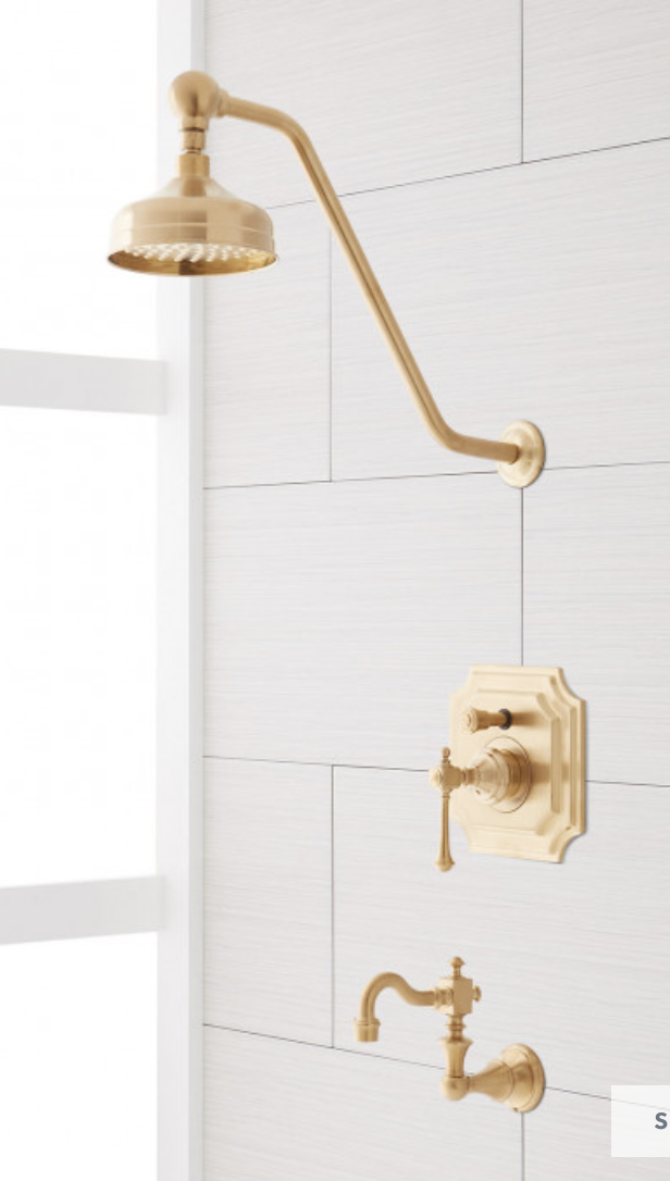 Signature Hardware VINTAGE PRESSURE BALANCE TUB AND SHOWER FAUCET SET WITH LEVER HANDLE