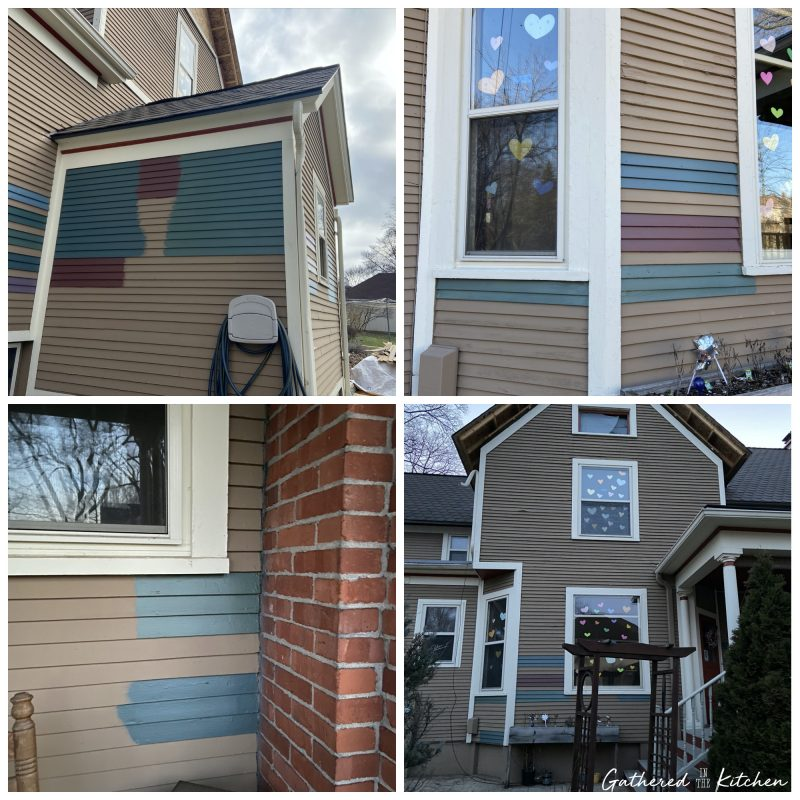 Testing paint colors on exterior of home