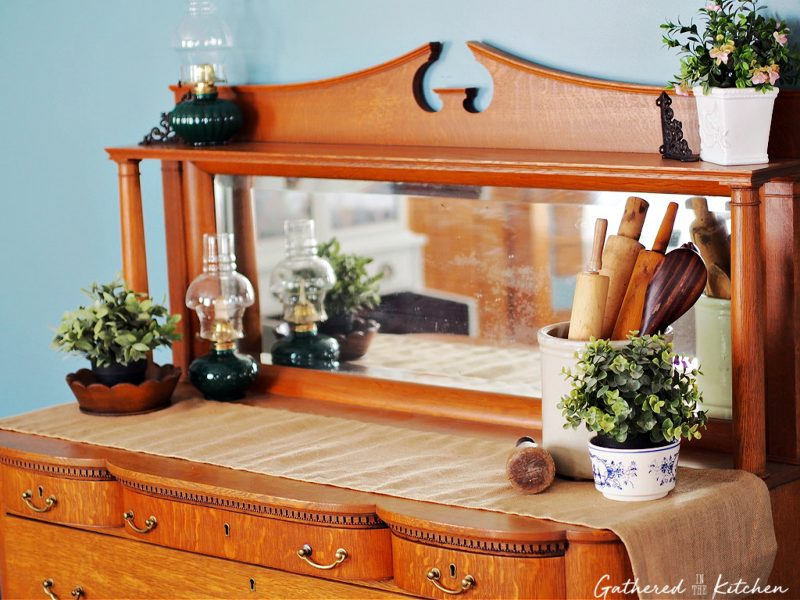 Antique Wooden Dining Room Sideboard Hutch