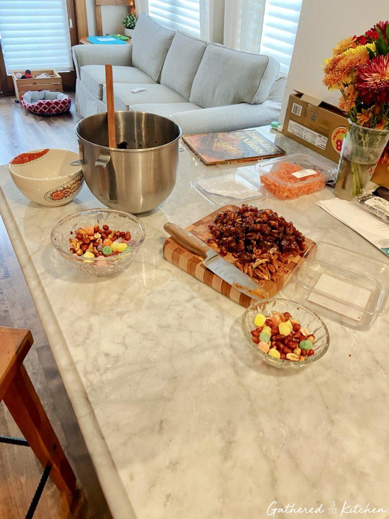 ingredients on counter for Orange Slice Cake