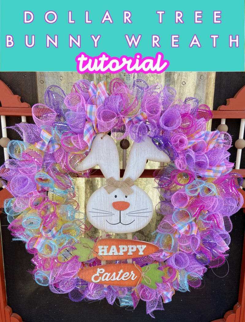 Dollar Tree Bunny Wreath | Curled Deco Mesh Wreath