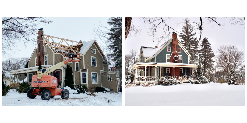 Victorian home with roof removed and after photo of home complete with roof