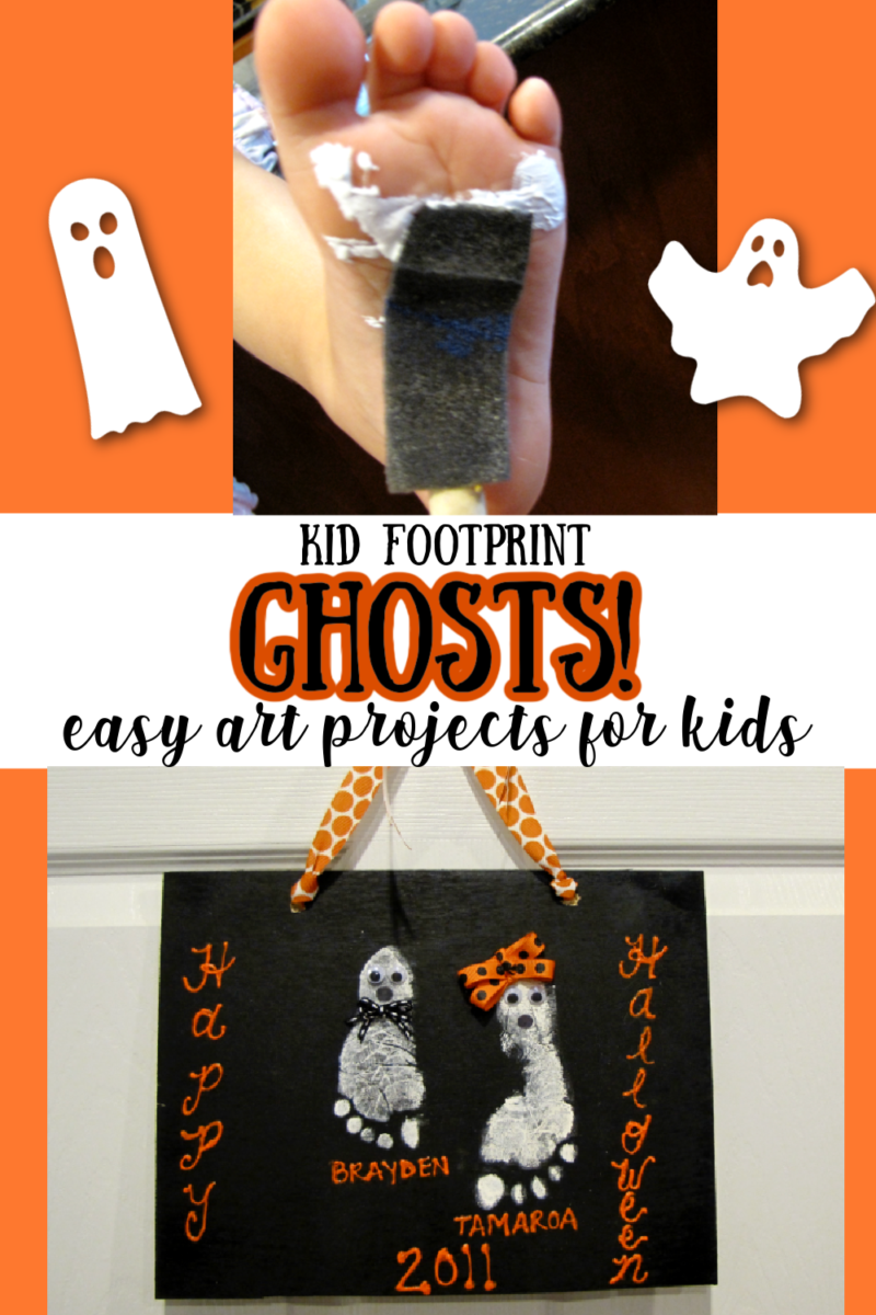 Kid Footprint Ghosts! - easy art projects for kids