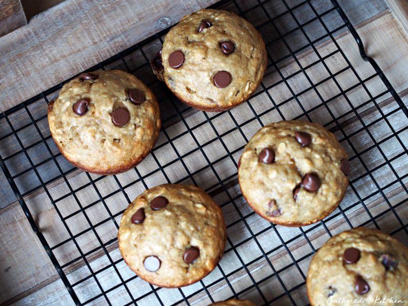 Banana Chocolate Chip Muffins on cooling rack
