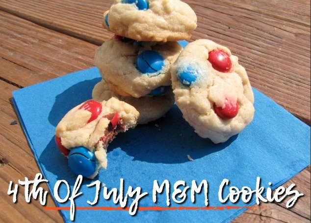 4th of July m&M cookies with red and blue m&ms