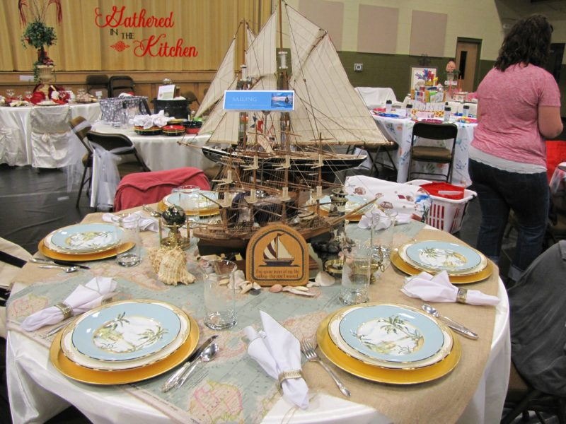 Nautical beach and boat themed tablescape decorations