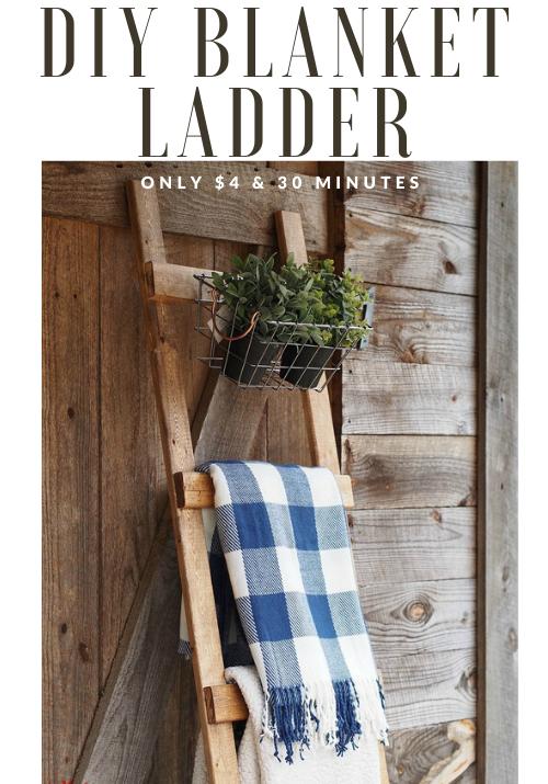 diy blanket ladder for $4 & 30 minutes