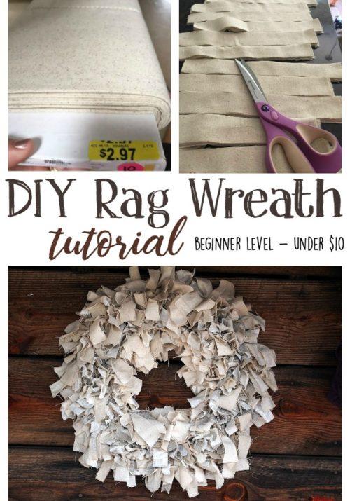 DIY Rag Wreath Tutorial - Beginner Level Project & Costs Under $10