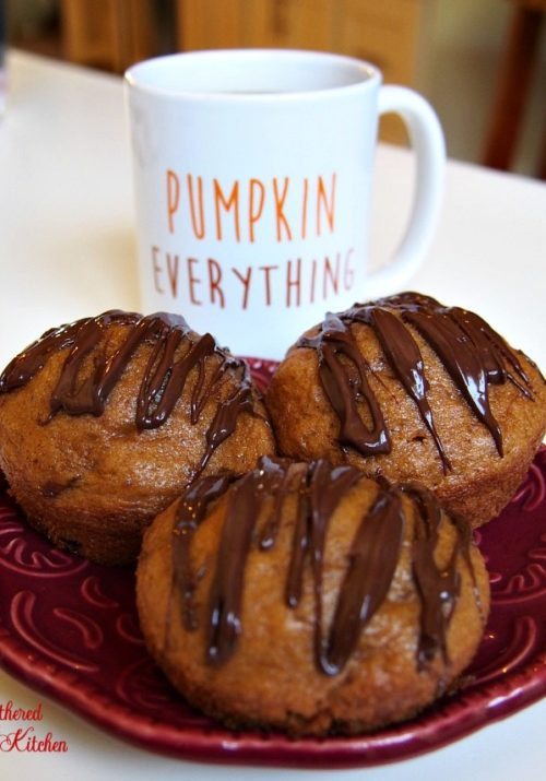 Pumpkin Spice Muffins with chocolate chips & chocolate drizzle