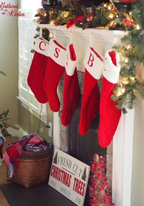 Christmas Stockings Hung on Mantel