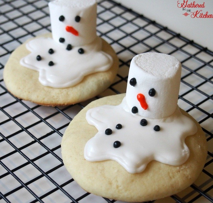 Melting Snowman Cookies Gathered In The Kitchen