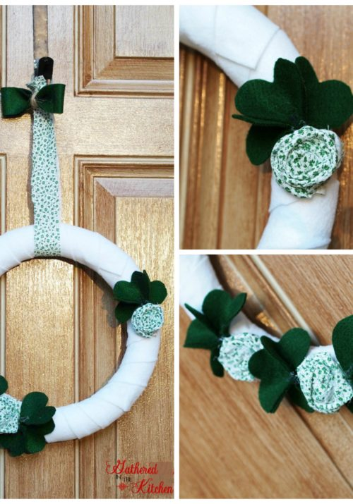 white felt wreath with green shamrocks