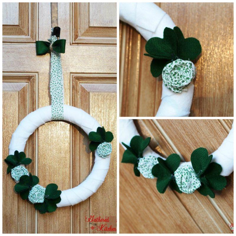 white felt wreath with green shamrocks