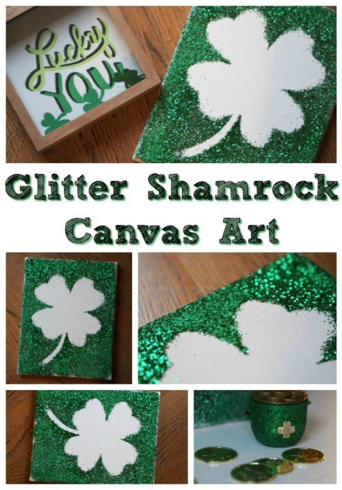 DIY Glitter Shamrock Canvas Art 1
