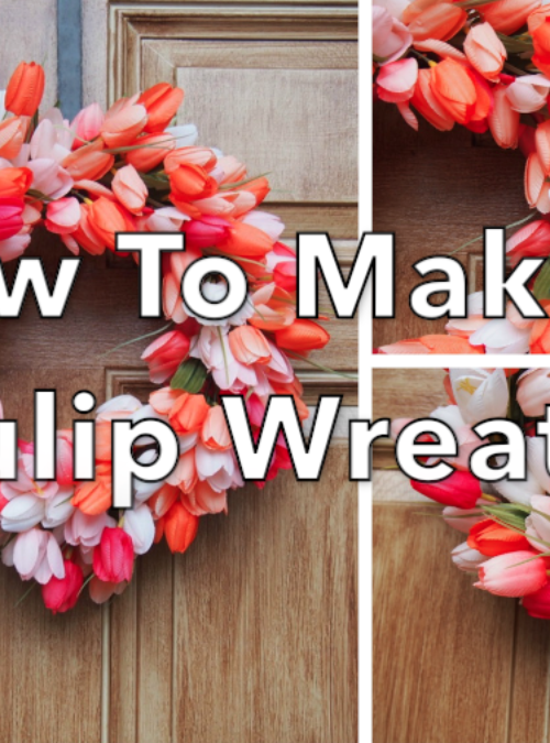 How To Make A Tulip Wreath | red pink and white tulips in the shape of a wreath