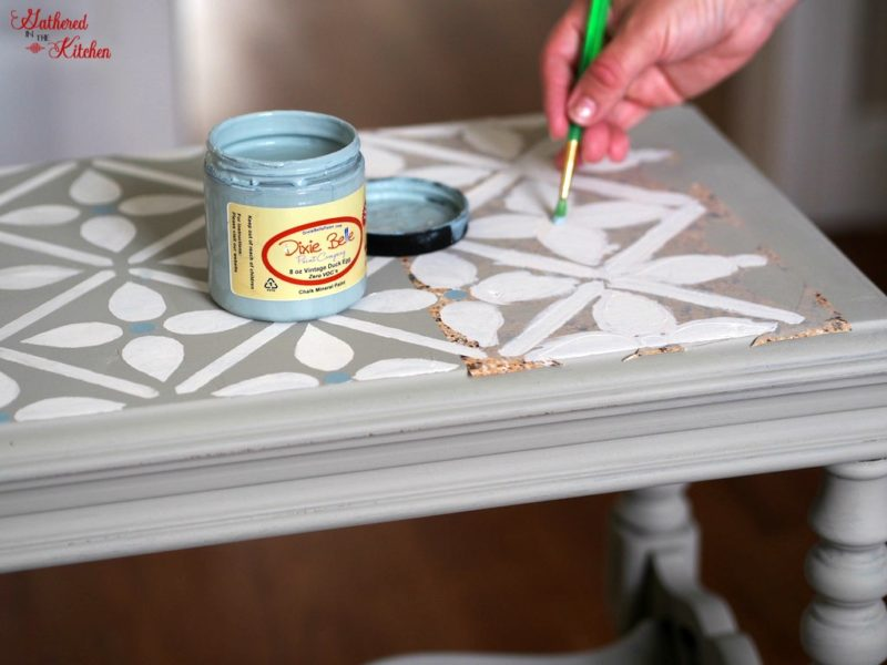 Repurposed Old Table with Chalk Paint and Stencil with dixie belle paint