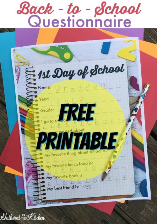 Back-to-School Kid Questionnaire FREE Printable